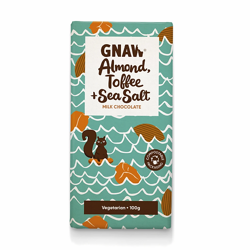 """GNAW CHOCOLATE"" Almond, Toffee & Sea Salt Milk Chocolate 100gr (0,22lb)"