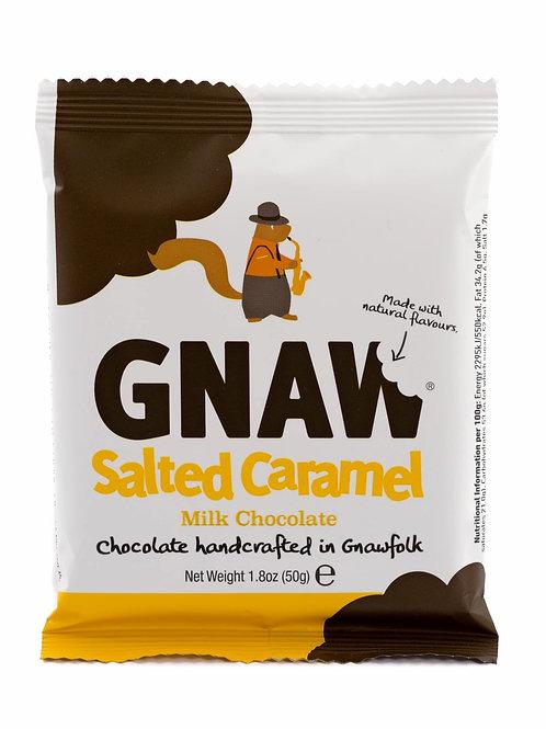 """GNAW CHOCOLATE"" Salted Caramel milk chocolate mini-bar 50g (0,11lb)"