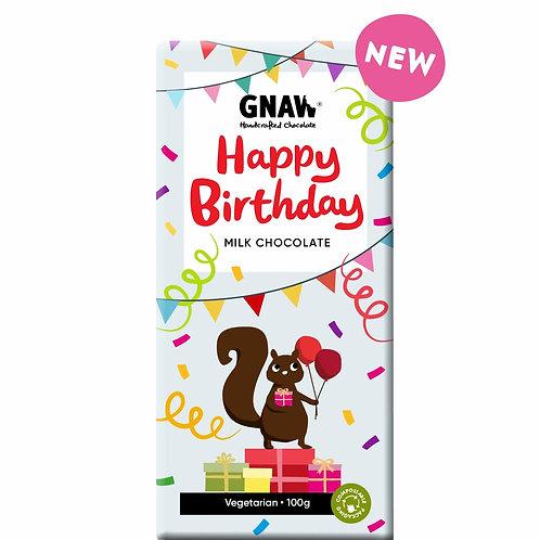 """GNAW CHOCOLATE"" HAPPY BIRTHDAY  Milk Chocolate Bar 100gr (0.22 lb)"