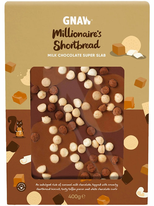 """GNAW CHOCOLATE""  MILLIONAIRE'S S SHORTBREAD MILK CHOCOLATE SUPER SLAB 400GR"