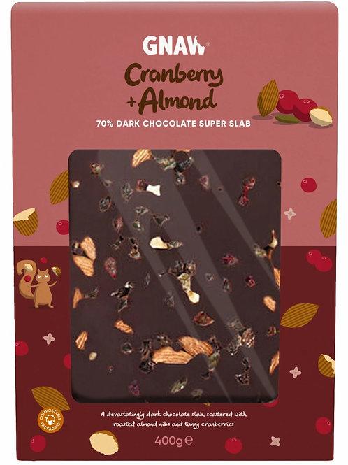 """GNAW CHOCOLATE"" Cranberry & Almond 70% Dark Chocolate Super Slab • Vegan 🌱"