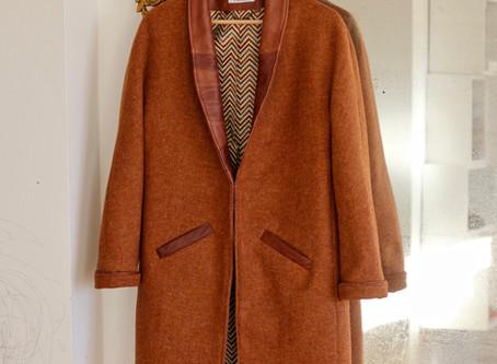Manteau cuir-laine