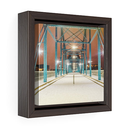 A Rare Snowy Night in the South - Square Framed Premium Gallery Wrap Canvas