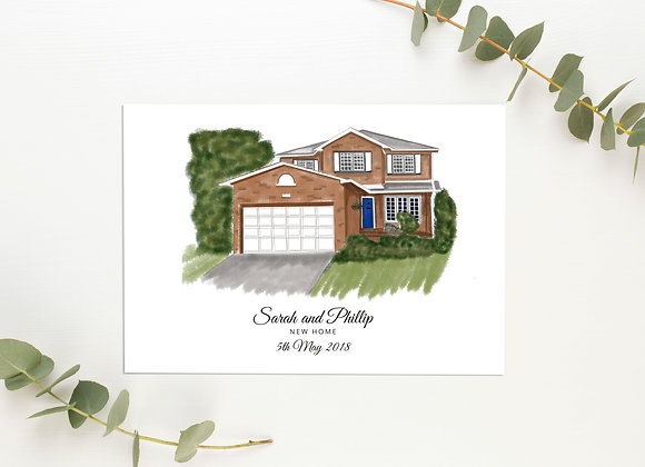 Personalised House Print (Colour)