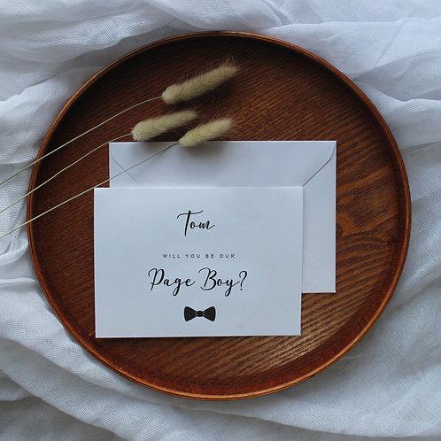 Pageboy, Groomsman, Best Man or Usher proposal card
