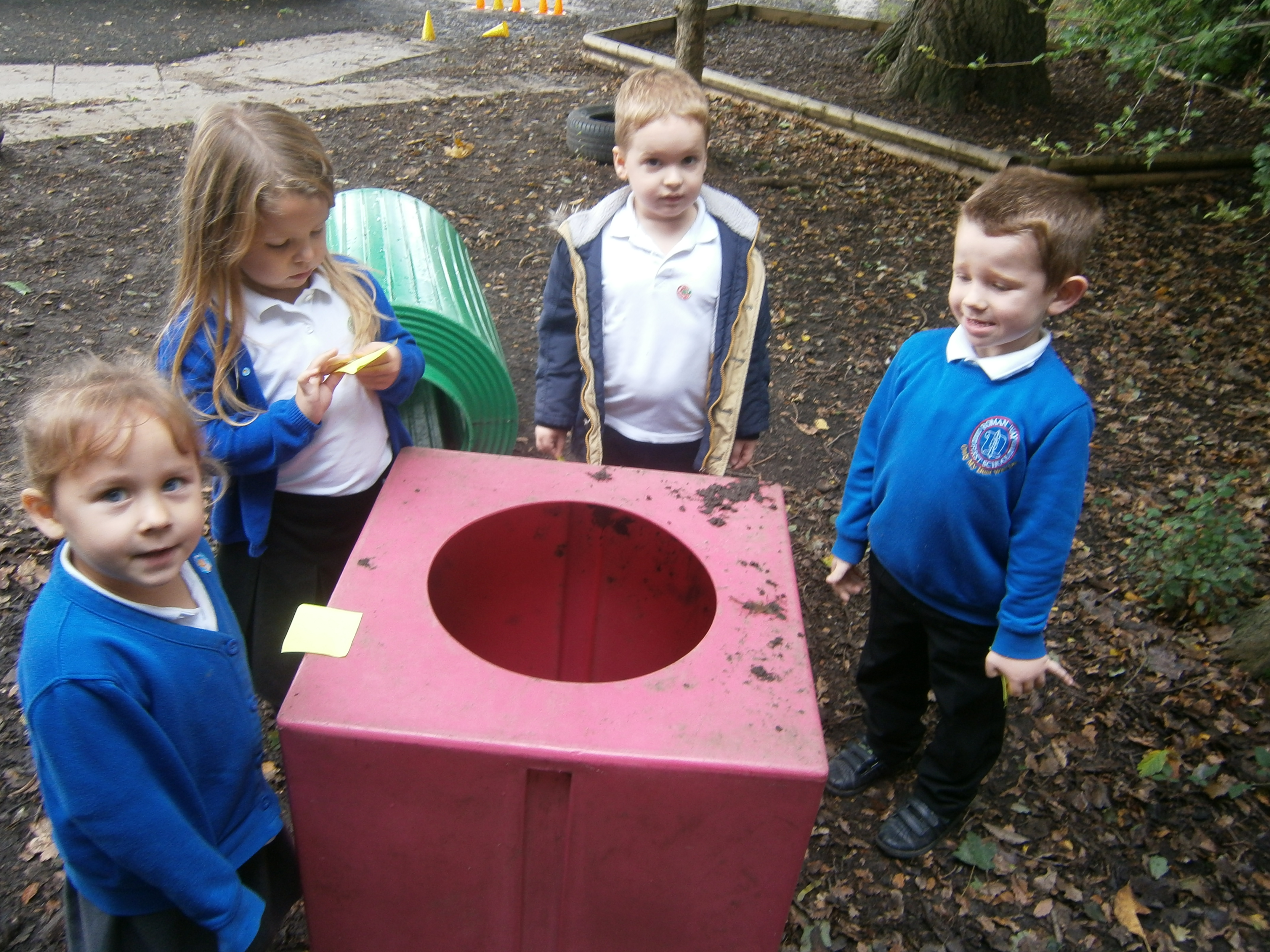 maths outside  looking for shapes