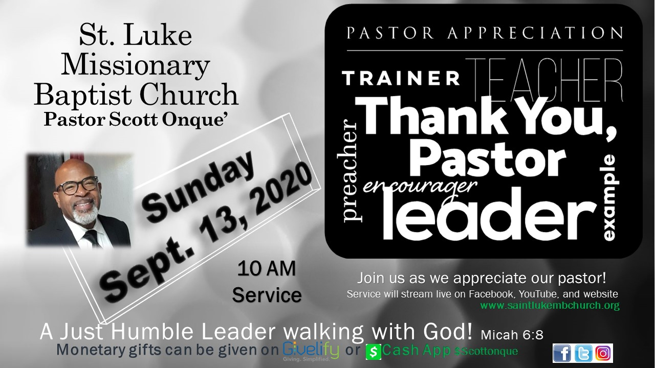 Virtual Pastor Appreciation 2020 flyer