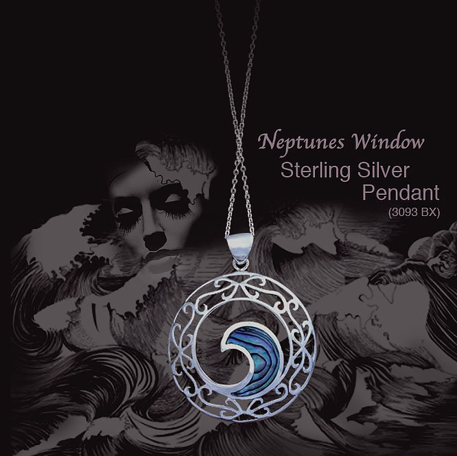 Rei Jewellery - Neptune's Window -NZ Jewellery- Original design by Ray Fransham - NZ Jewellery- Paua Silver Pendant & Chain (3093 bx) - online shop