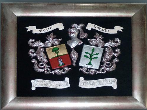 Escudos heráldicos en relieve esmaltados, enmarcado, regalo de llavero y linaje