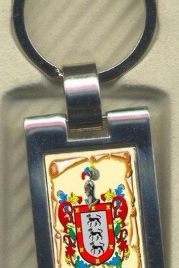 Llavero  con escudo del apellido metálico