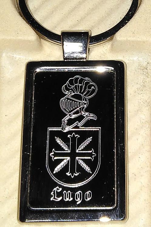 Llavero metálico con escudo grabado a láser