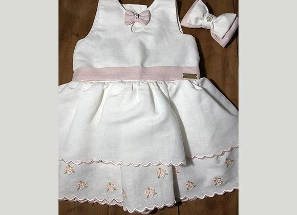 Vestido Linho Branco barra Rosas