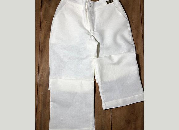 Calça em Linho Branco com Barra Italiana