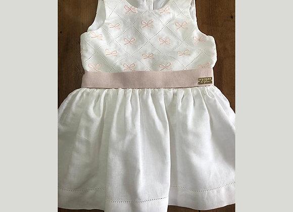 Vestido Laços - Linho Branco