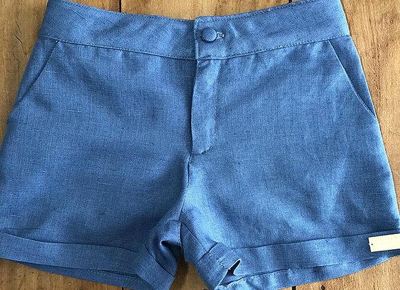 Short Masculino no Linho Azul com Barra Italiana