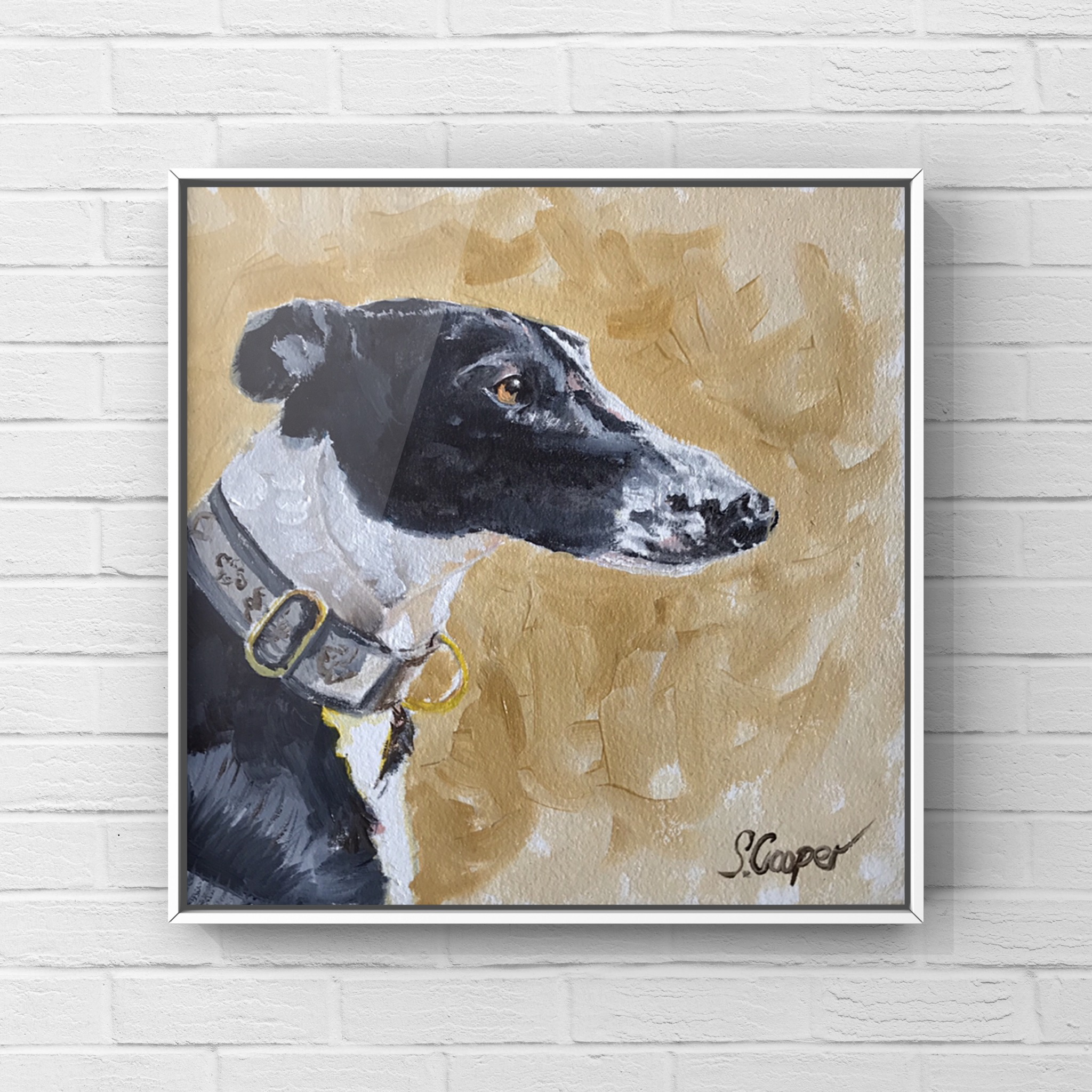 Benjie the Greyhound - oils