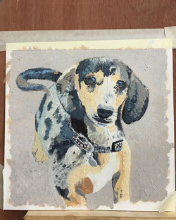 He's almost finished #dachsund #oilpaint