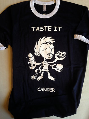 "CANCER ""TASTE IT"" NAVY RINGER TEE"