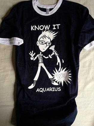 """AQUARIUS """"KNOW IT"""" NAVY RINGER TEE"""