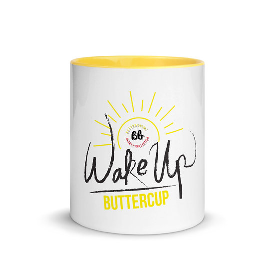 "White Ceramic Mug with ""Wake Up Buttercup"""