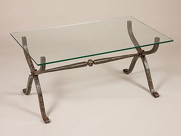 Iron coffee table, vintage iron coffee table, glass top coffee table, hand forged coffee table, adrian payne, little hampden forge, metal furniture