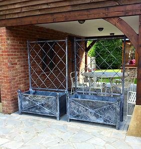 Garden planters, metal planters, garden planters with trellis, steel planters with trellis, adrian payne, little hampden forge