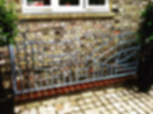 Art deco railing, iron railing, metal railing, steel railing, adrian payne, little hampden forge