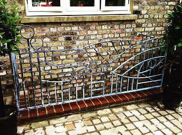 Art deco railing, iron railing, metal railing, steel railing, adrian payne, little hampden forge