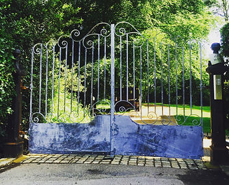 Iron gate, steel gate, driveway gate, entrance gate, hand forged gate, adrian payne, little hampden forge, metal gate