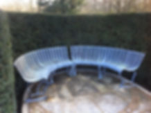 Metal seating, metal exterior seating, metal bench, steel bench, steel seating, garden seating, iron bench, curved bench, adrian payne, little hampden forge