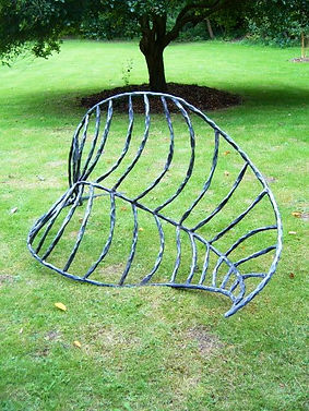 Metal sculpture, iron sculpture, steel sculpture, garden sculpture, exterior sculpture, forged sculpture, adrian payne, little hampden forge, leaf sculpture