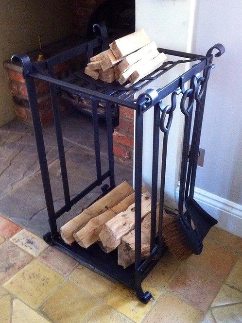 Log Rack with Kindling and Fire Tool Set