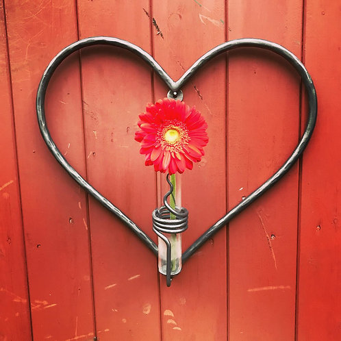 Hand forged wall heart vase