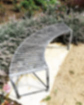 Steel bench, garden bench, iron bench, modern bench, curved bench, adrian payne, little hampden forge