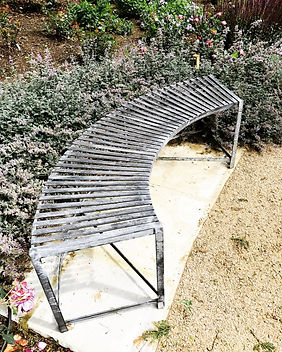 Steel bench, garden bench, iron bench, modern bench, curved bench, adrian payne, little hampden forge