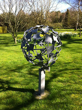 Metal sculpture, iron sculpture, steel sculpture, garden sculpture, exterior sculpture, forged sculpture, adrian payne, little hampden forge, ginko ball, sphere sculpture, round sculpture