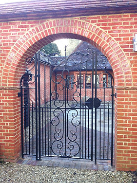 Iron gate, steel gate, garden gate, hand forged gate, adrian payne, little hampden forge, traditional iron gate