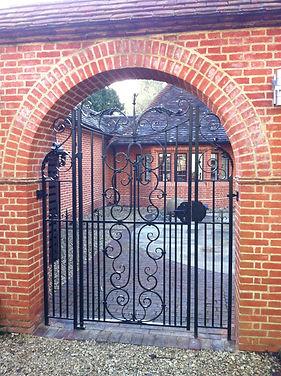 Iron gate, steel gate, garden gate, hand forged gate, adrian payne, little hampden forge, traditional iron gate