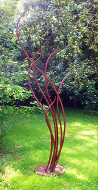 Metal sculpture, iron sculpture, steel sculpture, garden sculpture, exterior sculpture, forged sculpture, adrian payne, little hampden forge, red sculpture, reed sculpture, freeform sculpture, abstract sculpture
