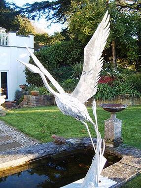 Metal sculpture, iron sculpture, steel sculpture, garden sculpture, exterior sculpture, forged sculpture, adrian payne, little hampden forge, heron sculpture