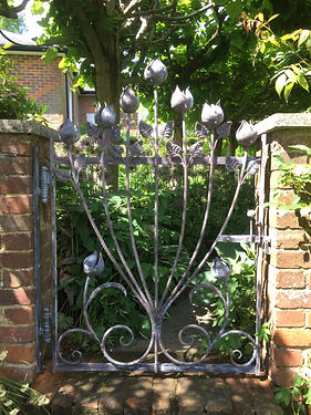 Iron gate, steel gate, garden gate, hand forged gate, adrian payne, little hampden forge, tulip gate