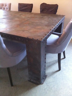 Riveted dining table, steel dining table, metal dining table, industrial dining table, adrian payne, little hampden forge, metal furniture