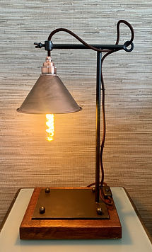 T bar lamp, industrial lamp, metal lamp, copper lampshade