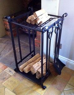 Log rack, iron log rack, metal log rack, adrian payne, little hampden forge