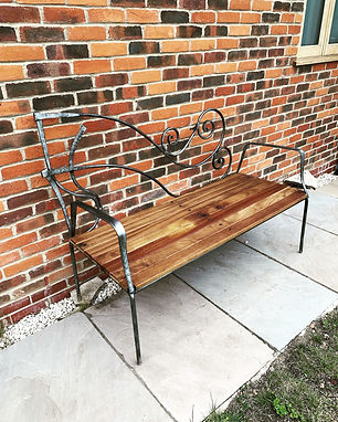 Bench.jpg ironwork bench, bespoke bench, wood and iron bench, metal bench, garden bench, garden seat, metal seat