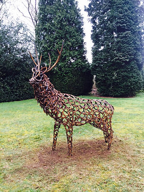 Metal sculpture, iron sculpture, steel sculpture, garden sculpture, exterior sculpture, forged sculpture, adrian payne, little hampden forge, stag sculpture, deer sculpture