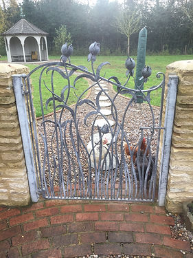 Iron gate, steel gate, garden gate, hand forged gate, adrian payne, little hampden forge, bud gate, hand forged gate