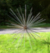 Metal sculpture, iron sculpture, steel sculpture, garden sculpture, exterior sculpture, forged sculpture, adrian payne, little hampden forge, sphere sculpture, seed head sculpture