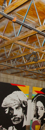 Communal art gallery, 25ft ceilings, oversized skylights
