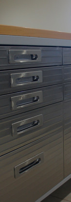 Butcher block, rolling, stainless steal cabinets